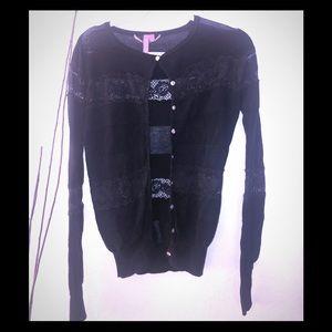 Charlotte Tarantola Black Lace striped cardigan